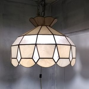 MCMTiffany Style Stained Leaded Glass Swag Light
